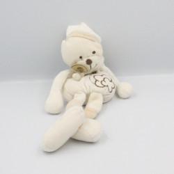 Doudou bio ours blanc beige rayé fleur Baby nat