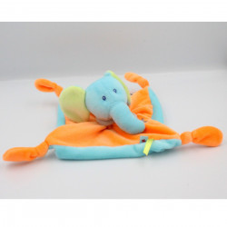 Doudou plat éléphant bleu orange vert gris U TOUT PETITS
