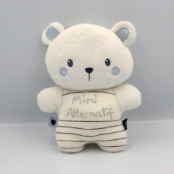 Doudou ours blanc bleu Mini Alternatif PREMAMAN