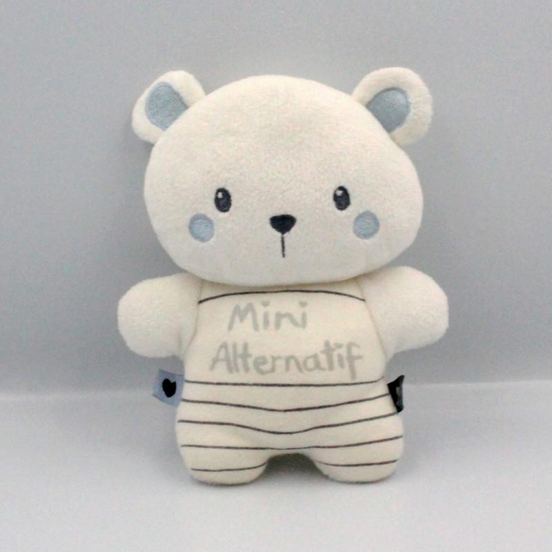 Doudou ours blanc bleu Mini Alternatif PREMAMAN