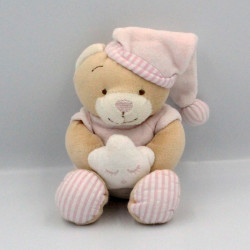 Doudou ours beige rose blanc rayé étoile BM RICAMI