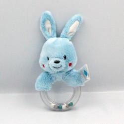 Doudou hochet lapin bleu TEX