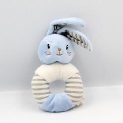 Doudou hochet lapin bleu blanc rayé DODIE