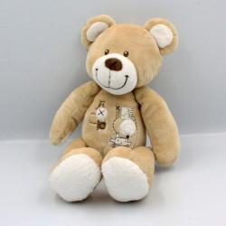 Doudou ours beige blanc marron NICOTOY