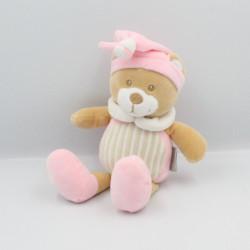 Doudou ours blanc rose beige rayé MES PETITS CAILLOUX CMP