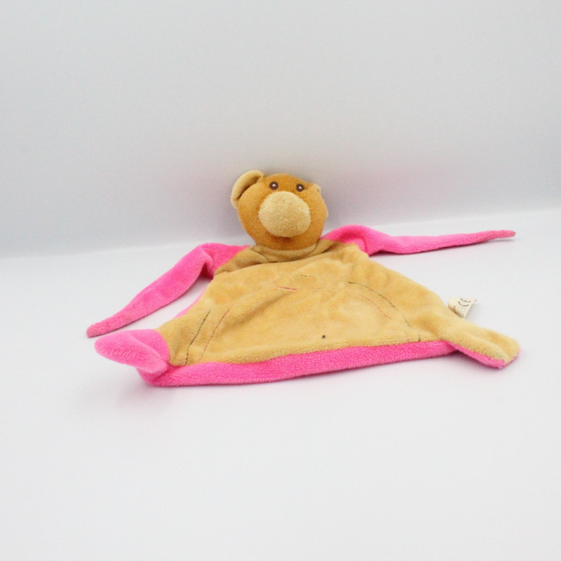 Doudou plat ours beige rose TOI TOYS