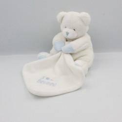 Doudou et compagnie ours J'aime mon doudou blanc bleu mouchoir