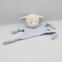 Doudou plat mouton blanc bleu rayé TOPOLINO