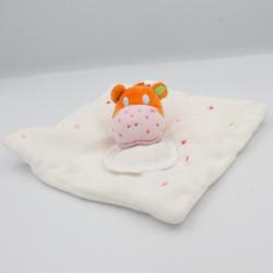 Doudou plat hippopotame blanc orange pois bavoir DMC