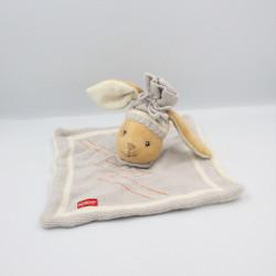 Doudou plat lapin gris laine KALOO