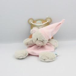 Doudou plat ours gris rose bonnet BABY NAT