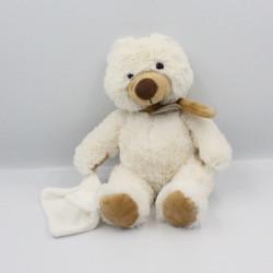 Doudou Ours blanc beige avec mouchoir Baby Nat