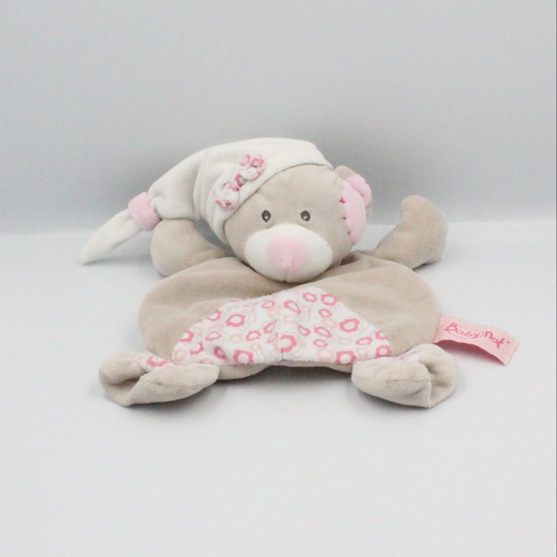 Doudou plat ours gris beige rose fleurs BABY NAT