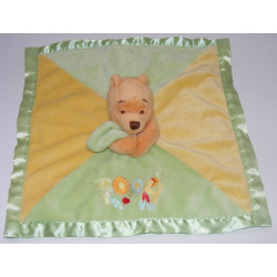 Doudou plat couverture rose satin Winnie l'ourson Disney