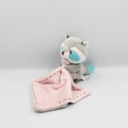 Doudou écureuil raton laveur gris bleu rose ZOOPARC BEAUVAL