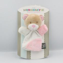 Doudou plat marionnette ours blanc rose TOM & ZOE