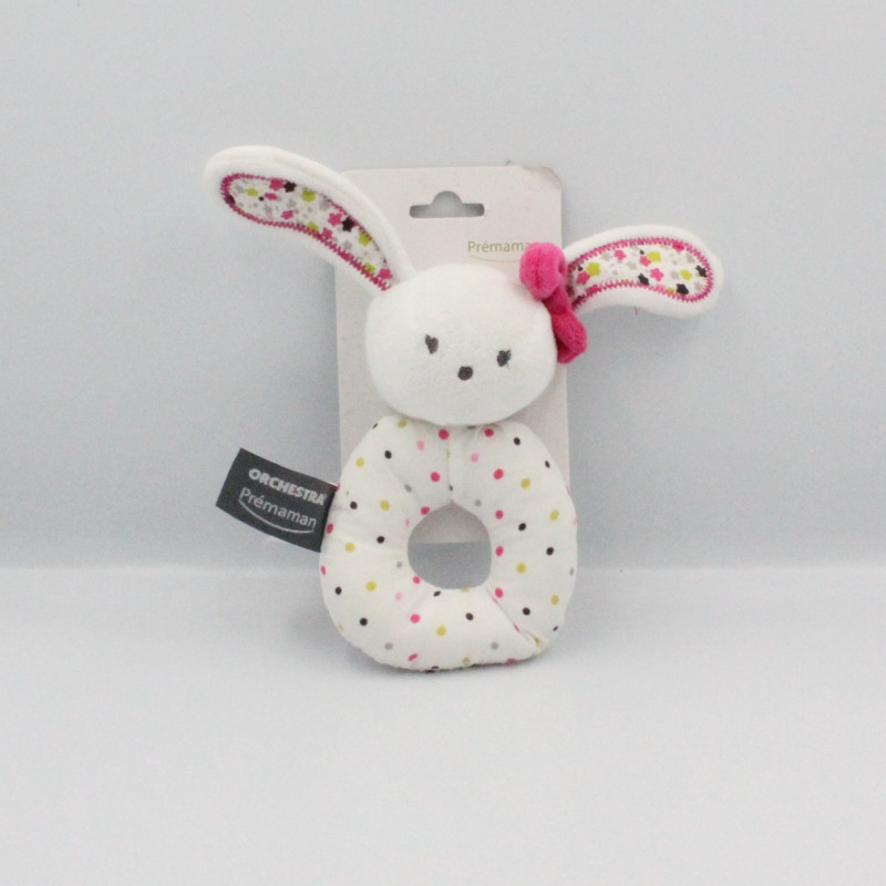 Doudou hochet lapin blanc rose vert pois ORCHESTRA PREMAMAN