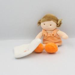 Doudou poupée fille orange Chipie mouchoir BABY NAT