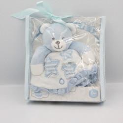 Doudou plat ours bleu blanc étoiles Piccinopiccio