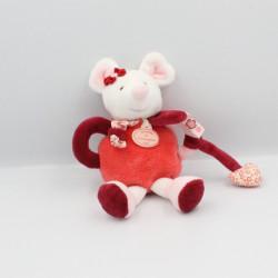 Doudou et compagnie hochet souris rose rouge blanc Clementine