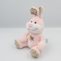 Doudou musical lapin rose fleurs GIPSY