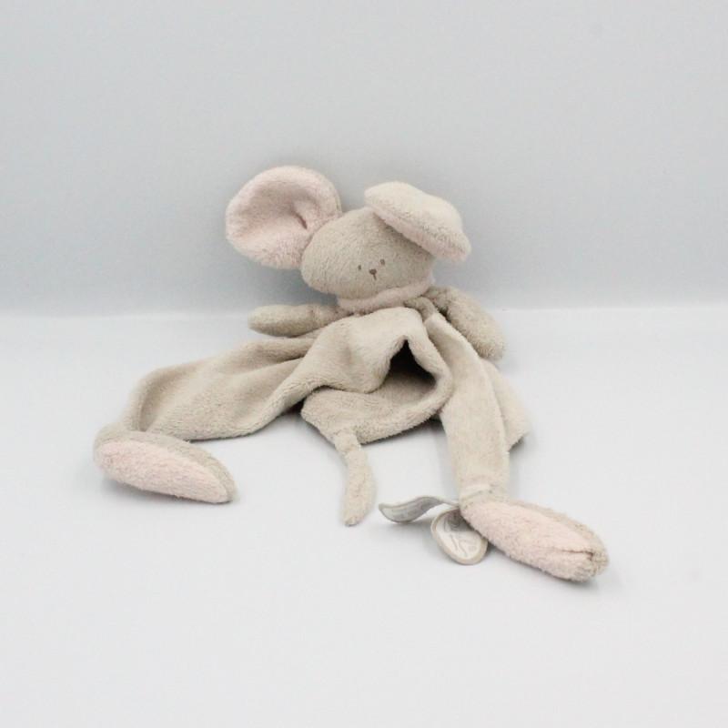 Doudou plat souris grise rose Mona DIMPEL