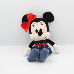Peluche Minnie robe bleu rouge pois DISNEY