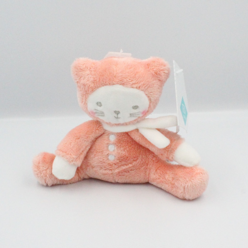 Doudou ours chat rose orange blanc TEX