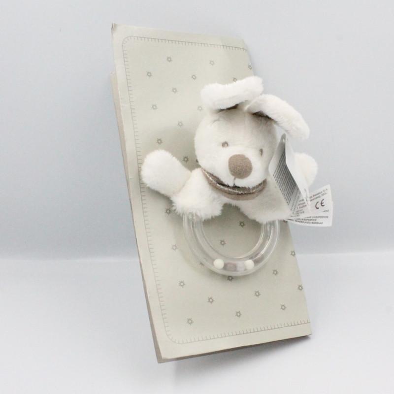 Doudou hochet lapin blanc bandanas beige SIMBA TOYS