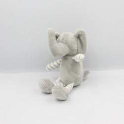 Doudou éléphant gris rayé blanc TOM & KIDDY TOMKIDS