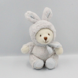 Peluche ours blanc bleu déguisé en lapin BUKOWSKI