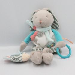 Doudou et compagnie lapin blanc bleu rayé Puzzle anneau miroir