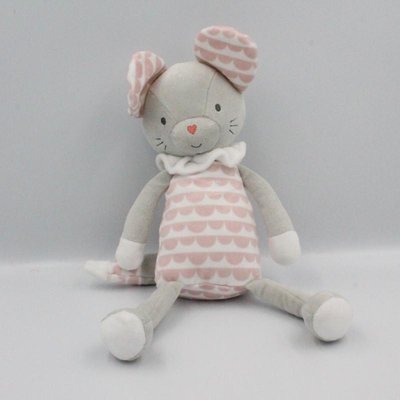 Doudou souris grise rose blanche TAPE A L'OEIL
