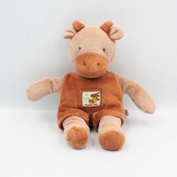 Doudou girafe vache marron Les Zazous MOULIN ROTY