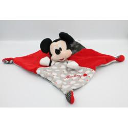 Doudou plat carré Mickey rouge gris noir DISNEY NICOTOY