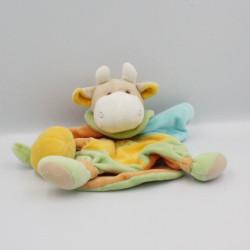 Doudou et compagnie marionnette girafe vache jaune bleu vert pomme