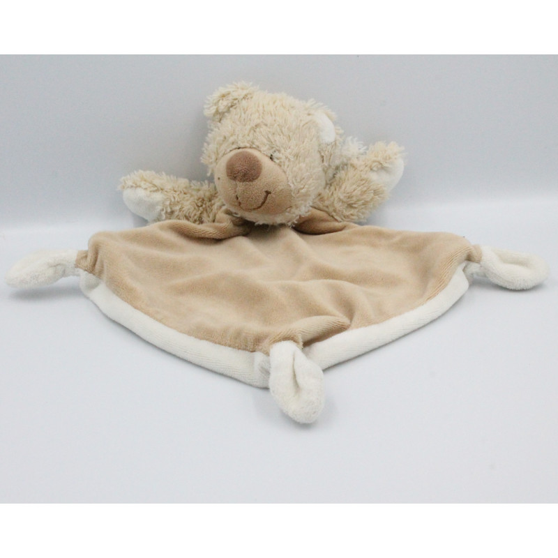 Doudou plat ours beige blanc TEX BABY