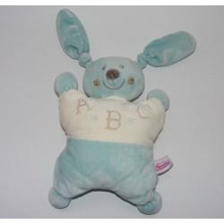 Doudou plat marionnette lapin bleu blanc ABC POMMETTE