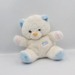 Doudou Peluche ours blanc rose bleu BOULGOM