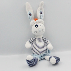 Doudou lapin blanc bleu rayé marin TAPE A L'OEIL
