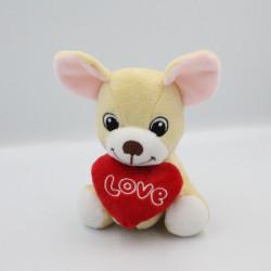 Doudou souris beige coeur rouge Love