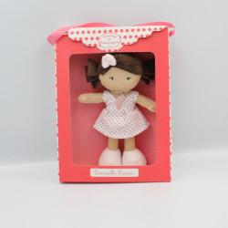 Doudou et compagnie poupée fille blanche rose pois Demoiselle doudou