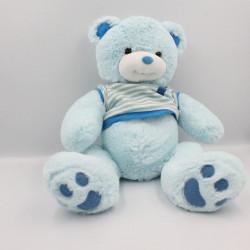 Doudou peluche ours bleu tee shirt rayé KESTREL TOYS