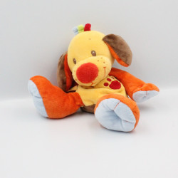 Doudou chien jaune orange bleu marron NATTOU