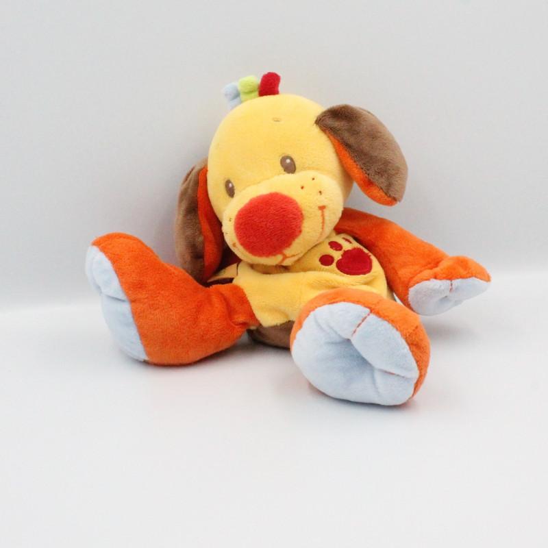 Doudou chien jaune orange bleu marron NATTOU