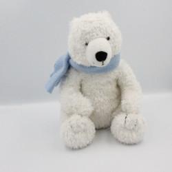 Doudou ours polaire blanc écharpe bleu GIPSY