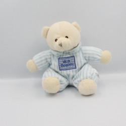 Doudou ours bleu vichy rayé Mon Doudou CP INTERNATIONAL