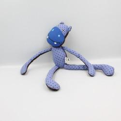 Doudou hippopotame bleu marron pouet CORA