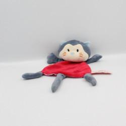 Doudou plat chat gris rouge bleu EGMONT TOYS