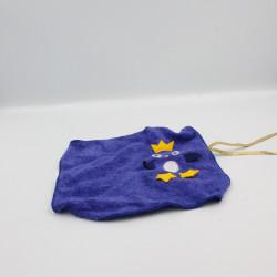 Doudou plat carré éponge bleu oiseau hibou chouette